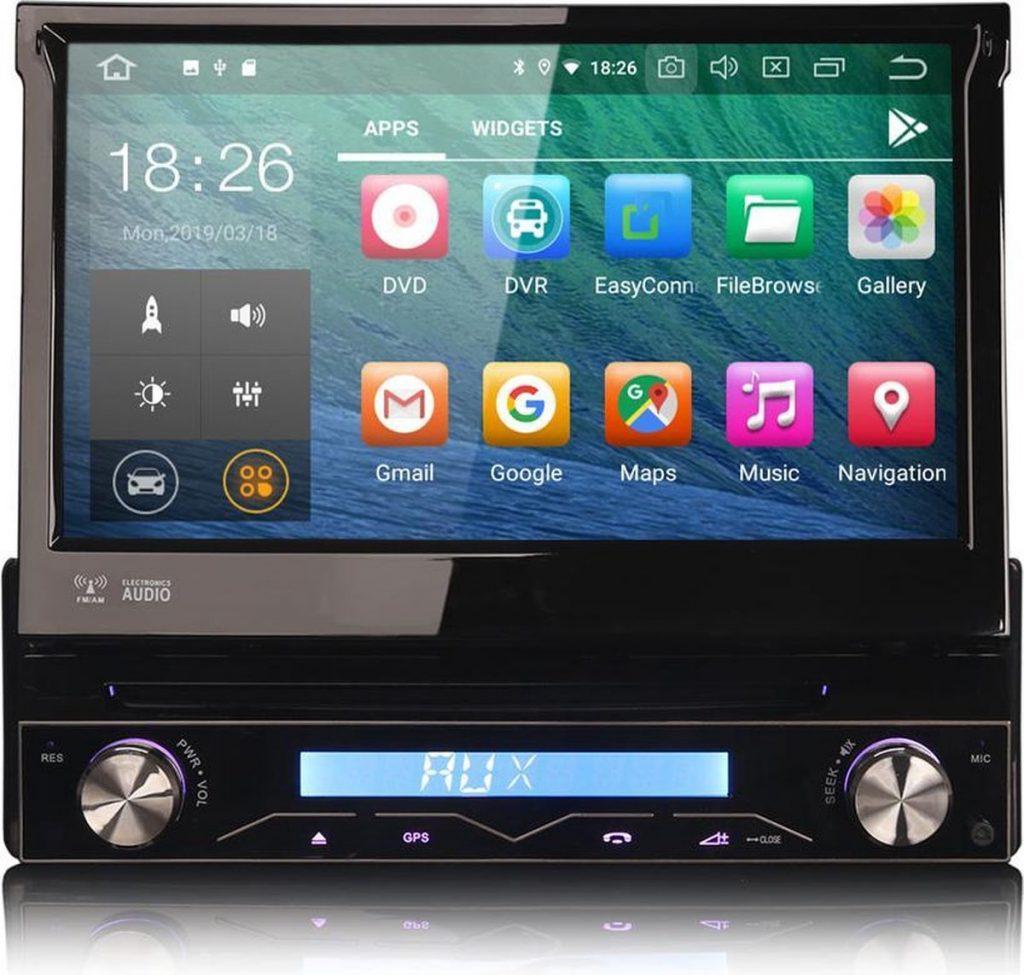 1 Din Android 10 autoradio met uitklapbare scherm